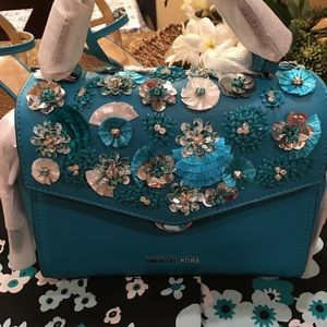 👛Bristol Small Floral Sequined Leather Satchel👛